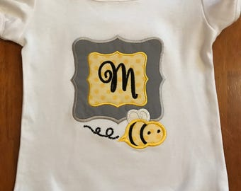 Grey, Yellow, and Black Bumble Bee Initial Baby Bodysuit or Shirt