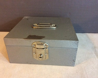 Vintage Industrial Metal Decorative Cash Box