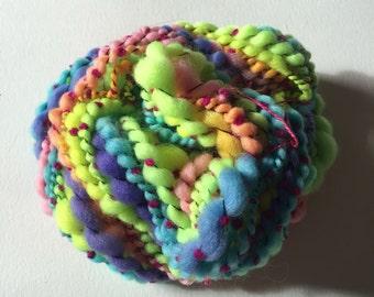 Handspun Pastel Rainbow Artyarn - handspun artyarn - rainbow artyarn - pastel rainbow yarn