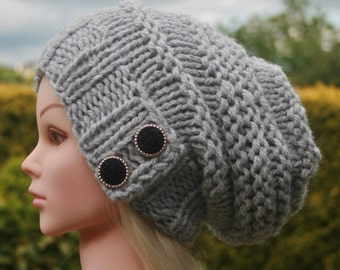 Grey hat- Hand knit hat- Slouchy Beanie hat with 2 elegant buttons- Chunky winter hat- Womens Accessories
