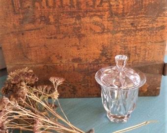 Vintage Crystal Sugar Bowl / Sugar Bowl with Lid