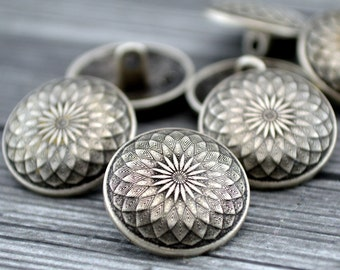 """LOTUS Metal Buttons, Thousand Petal Lotus Flower Buttons, Mandala Button 5/8"""" Qty 4 to 24, Antique Silver, 18mm Leather Wrap Clasp, Clothing"""