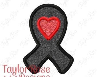 Awareness Ribbon Heart 2 Applique Machine Embroidery Design 4x4 5x7  INSTANT DOWNLOAD