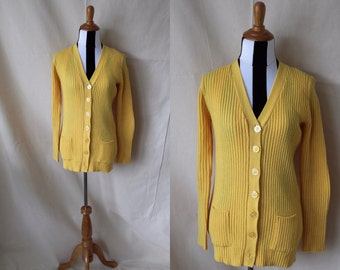 1970s Bright Yellow Acrylic Cardigan Sweater Pockets | Long Yellow Granny Cardigan Front Pockets Made in Korea | Button Front