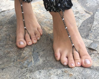Black and silver crystals barefoot sandals.yoga anklet..wedding barefoot sandals..beaded barefoot sandals.bridesmaid gift..pearls anklets..