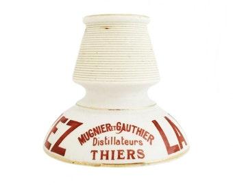 1930s Vintage French Porcelain 'Mugnier et Gauthier Distillateurs' Advertising Match Holder / Striker