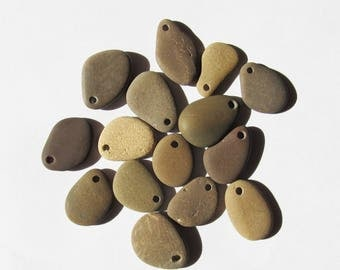 Stone beads Natural beach stone beads 15 natural beads jewelry making supplies top drilled stones organic craft eco friendly beads (DS-65)