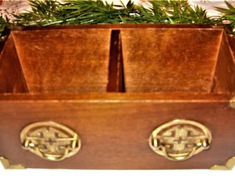 Wood Desk Top Organizer, Wood Box, Vintage Wood Desk Caddie, Wood Box with Brass Hardware
