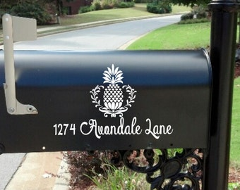 Pineapple Mailbox decal Personalized Monogram Custom Wedding