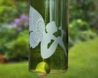 Fairy Wind Chime, Upcycled Wine Bottle Wind Chime, Garden Wind Chime, Green Glass Wind Chime, Sand Etched Images, Mother's Day Gift