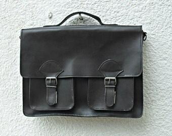 Vintage leather satchel, leather school bag , leather students bag , Vintage school satchel, Leather laptop bag.