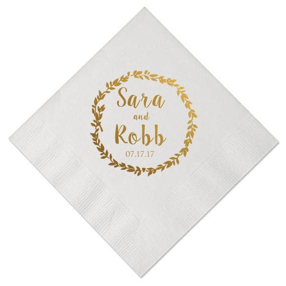 100 Personalized Napkins Personalized Napkins Bridal Shower Wedding Napkins Custom Monogram