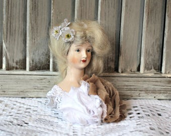 Vintage. Half doll. Porcelain doll bust. Handmade. Art deco. Pretty hippie!