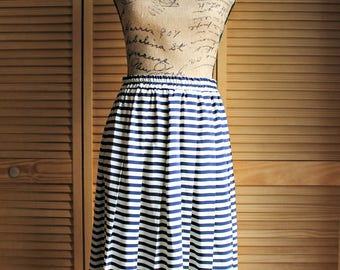 Vintage. Stripe/navy blue/white/skirt. Personal Petites. 1980's. Cute skirt!!
