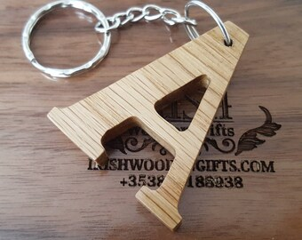 Personalised Wooden Letter Keyring, Wooden Letter Keyring, Engraved Letter Keyring, Walnut Keyring, Oak Keyring, Letter Keyring