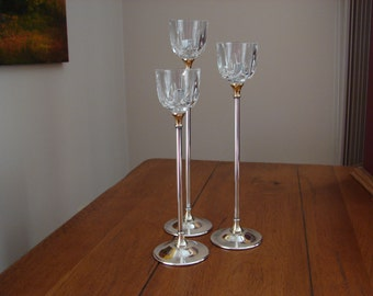 Silver and glass candle sticks