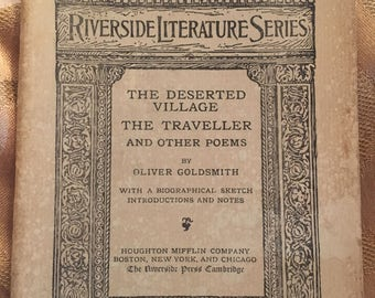 Vintage Book From Riverside Literature Series #68 from 1894, The Deserted Village The Traveller And Other Poems by Oliver Goldsmith.