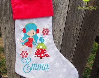 Personalized Fairy Christmas Stocking - Kids' Custom Xmas Stocking - Winter Fairy Stocking for Girls with Name - Monogrammed Xmas Stocking
