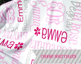 Baby Blanket with Name and Monogram - Personalized Receiving Blanket for Girls - Soft Custom Baby Blanket - Baby Girl Gift - Baby Photo Prop