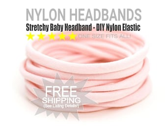 PALE PINK Bulk Nylon Headbands / WHOLESALE Nylon Baby Headband / Wholesale Spandex Headband / Skinny Very Stretchy One Size Fits most Nylon