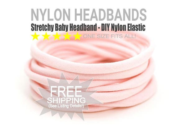 PALE PINK Bulk Nylon Headbands / WHOLESALE Nylon Baby Headband / Wholesale Spandex Headband / Skinny Very Stretchy One Size Fits most Nylon