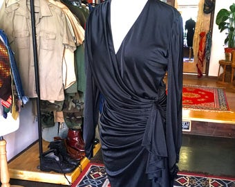 1980s Size Small Medium Long Sleeve V Neck Wrap Rusched Fitted Sexy Body Con Party Date Night Dress