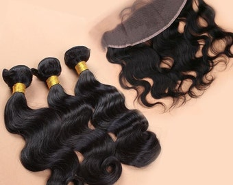 LACE - Virgin Human Brazilian Body Wave Lace Frontal / Lace Closure / 360 Frontal