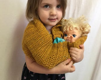Baby Doll Carrier, Baby Doll Sling, Pretend Baby Carrier, Toddler Doll Carrier, Crochet Baby Doll Sling, Baby Doll Accessories