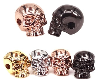 Skull Beads For Paracord,GunBlack 18kGold Silver Rose Gold,Halloween Skull,Gothic Skull,Side Drilled Metal Beads,Charms,MixedColors,8*9*11mm