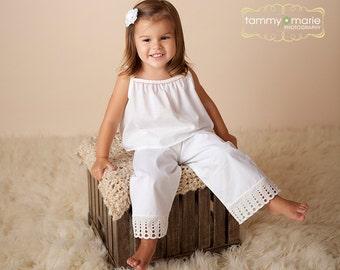 Lily Classic White Cotton Elastic Waist Pant w/Vintage Trim Girls Size