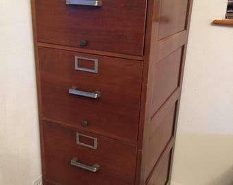 Vintage Globe-Wernicke Co 4 Drawer Wooden File Cabinet