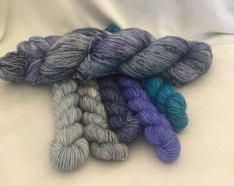 Waterfall set - Single Sock - hand dyed yarn