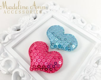 Sequin Hearts Hair Clips, Baby Hair Clippie, Wispy Baby Hair Clip, Tiny Baby Bows, Wee Baby Snap Clips by Madeline Ann