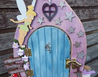 Wooden fairy door free standing hand painted custom made for Tinkerbell fairy door