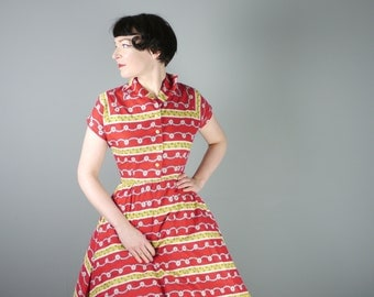 50s RED cotton dress in romantic YELLOW and green floral print - beautiful Mid Century / Goodwood cotton day dress - s-m / uk10