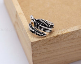 Vintage Feather ring, Wing 925 Sterling Silver Ring, Womens ring, Mens ring