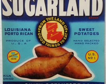 Sugarland Louisiana Sweet Potatoes Crate Label Smith & Stanford Chataignier, Louisiana
