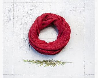 Linen infinity scarf. Tube scarf. Infinity scarf. Linen scarf. Linen scarves. Loop scarf. Knit scarf. Gift for her. Red scarf. Linen scarves