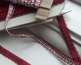 Vintage french trimming; rasberry red trimming  upholstery