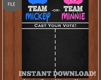 Gender Reveal Voting Chart - Instant Download - Team Mickey or Team Minnie - Mickey Mouse Gender Reveal - Pink or Blue - 11x14 or 8x10
