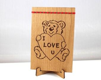 Teddy Bear I LOVE YOU Valentine 4x6 Greeting Card Gift