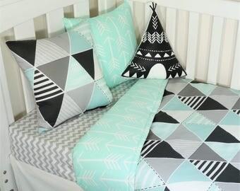 Black, grey, mint triangle, geometric, arrow nursery items
