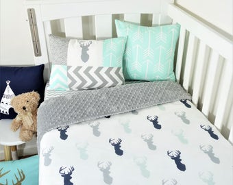 Navy, mint and grey deer nursery set (grey minky backing)