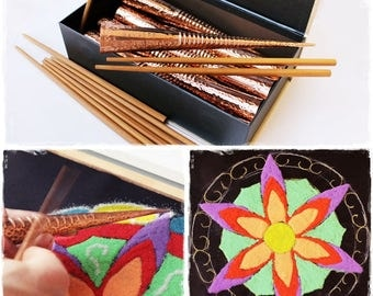 Chakpur Sand Mandala Tool. Chak Pur Sand Painting Art Kit. Rangoli Tools. Copper funnel. Glass fusing tool.