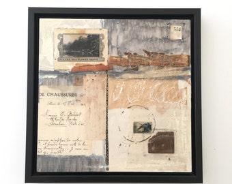 Original art, framed original mixed media encaustic collage, vintage postcard, vintage papers, vintage stamp, ready to hang art