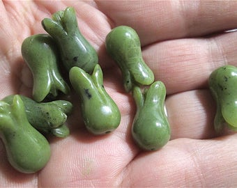 5 Carved Jade? or other Green Tulip Beads