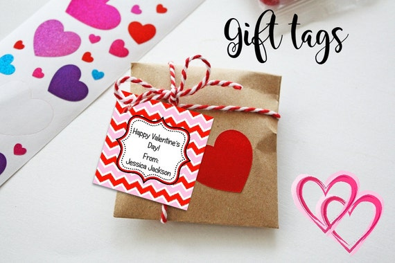 Valentine Cards - Printable - Valentine's Tags - Chevron Tags - Pink - Red - Gift Tags - Valentine Party
