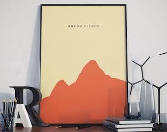 Machu Picchu, Wonder of the world, Print. Poster.