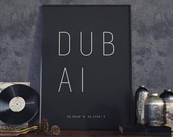 Dubai Typography Print. Poster.