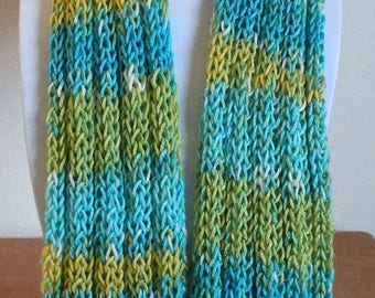 Bright Green and Blue Infinity Scarf